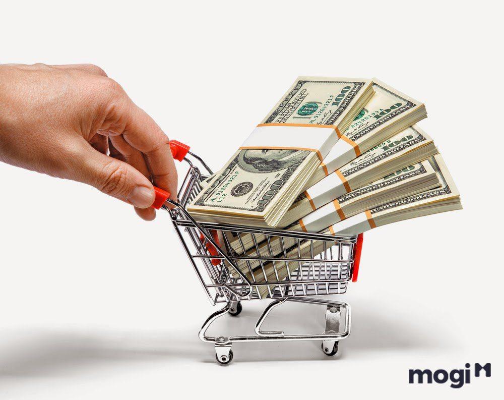 Money in a trolley